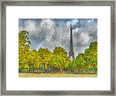 The Eiffel Tower Viewed From Place Jacques Rueff Framed Print
