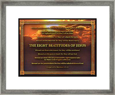 The Eight Beatitudes Of Jesus Framed Print