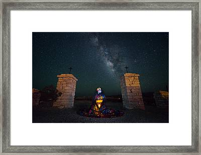 The Elegant Skull And The Milky Way Framed Print by Sergio Garcia Rill