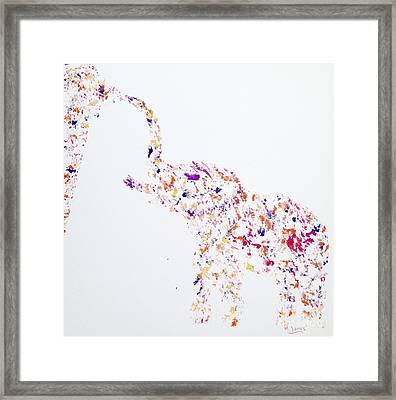 The Elephant Sucked In All The Colour Framed Print