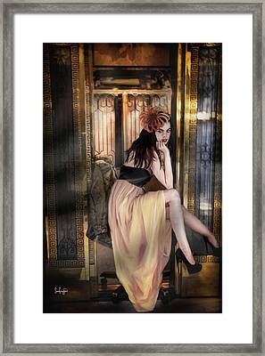 The Elevator Girl Framed Print