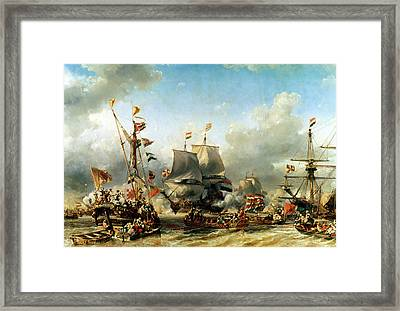 The Embarkation Of Ruyter And William De Witt In 1667 Framed Print