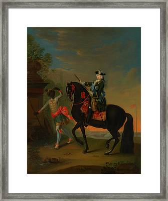 Framed Print featuring the painting The Empress Elizabeth Of Russia by Georg Grooth
