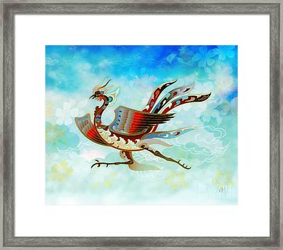The Empress - Flight Of Phoenix - Blue Version Framed Print by Bedros Awak