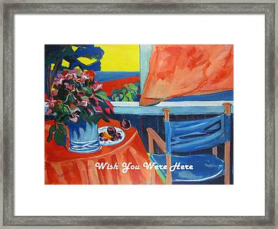 The Empty Blue Canvas Chair Framed Print