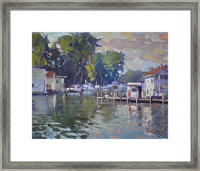 The End Of A Beautiful Day By The Boat Houses Framed Print
