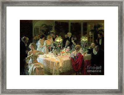 The End Of Dinner Framed Print by Jules Alexandre Grun