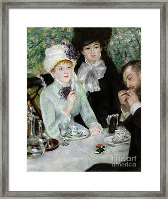 The End Of Luncheon, 1879 Framed Print by Pierre Auguste Renoir