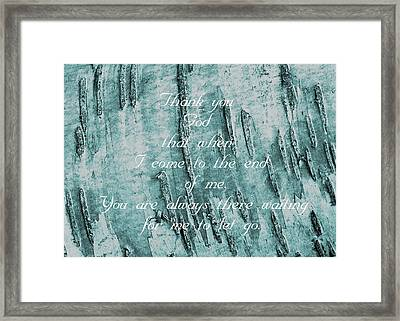 The End Of Me Framed Print