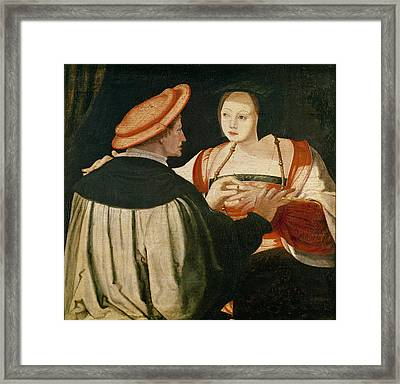 The Engagement Framed Print by Lucas van Leyden