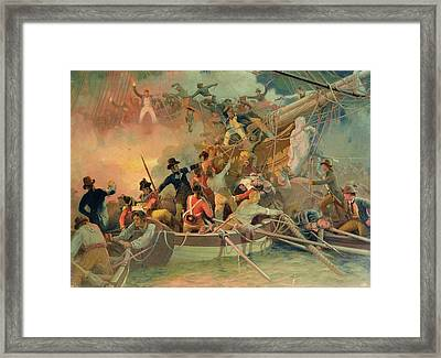 The English Navy Conquering A French Ship Near The Cape Camaro Framed Print by English School