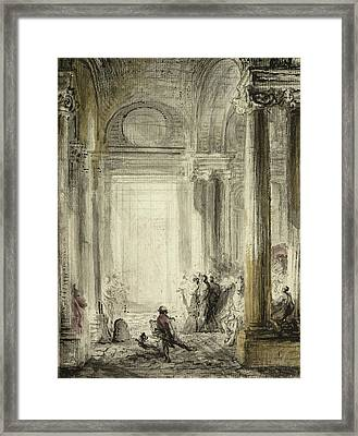 The Entrance Of The Academy Of Architecture At The Louvre Framed Print by Gabriel de Saint-Aubin