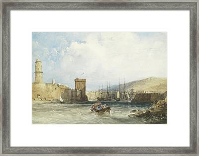 The Entrance To The Harbor Of Marseilles Framed Print