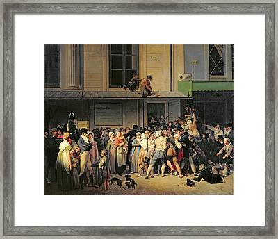 The Entrance To The Theatre Before A Free Performance Framed Print by Louis Leopold Boilly