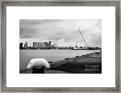 Framed Print featuring the photograph The Erasmus Bridge In Rotterdam Bw by RicardMN Photography
