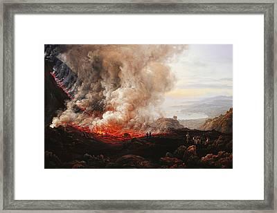 The Eruption Of Vesuvius Framed Print by Johan Christian Dahl