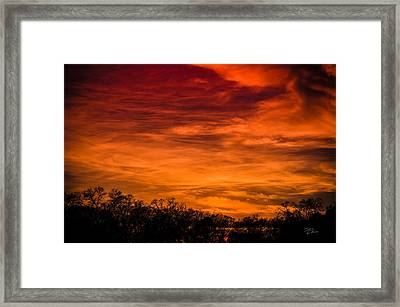 The Evening Sky Of Fire Framed Print by David Collins