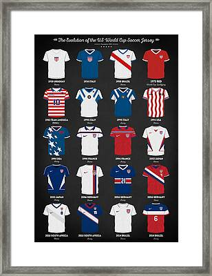 The Evolution Of The Us World Cup Soccer Jersey Framed Print by Taylan Apukovska