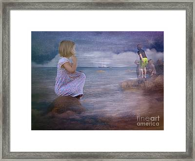 The Explorers Underneath The Night Sky At The Seashore Framed Print