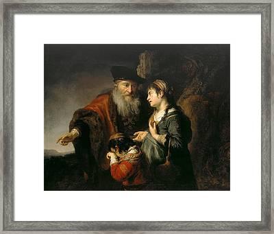 The Expulsion Of Hagar Framed Print by Govert Flinck