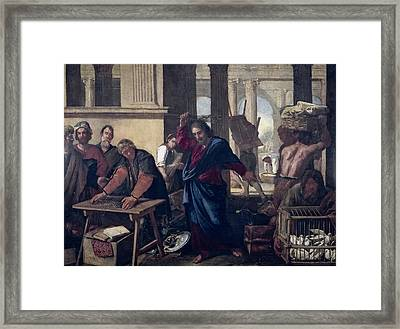 The Expulsion Of The Money Changers From The Temple Framed Print by Aniello Falcone