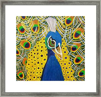 The Eye Of The Peacock Framed Print by Margaret Harmon
