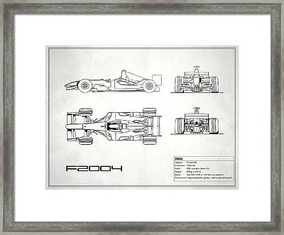 The F2004 Gp Blueprint - White Framed Print by Mark Rogan