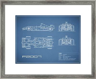 The F2007 Gp Blueprint Framed Print by Mark Rogan