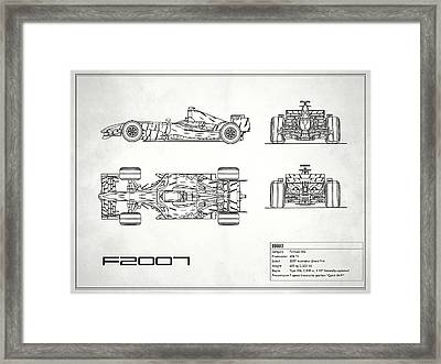 The F2007 Gp Blueprint - White Framed Print by Mark Rogan