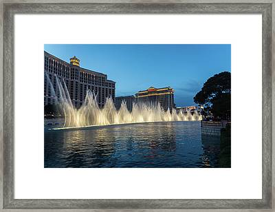 The Fabulous Fountains At Bellagio - Las Vegas Framed Print