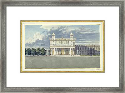 The Facade And Suroundings Of A Cathedral For Berlin Framed Print by Karl Friedrich Schinkel
