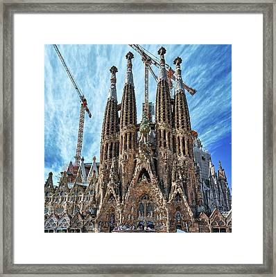 The Facade Of The Sagrada Familia Framed Print