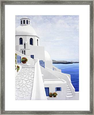 The Face Of Santorini - Prints Of Original Oil Painting Framed Print by Mary Grden Fine Art Oil Painter Baywood Gallery