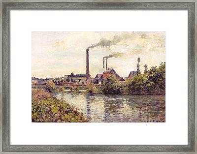 The Factory At Pontoise Framed Print by Camille Pissarro