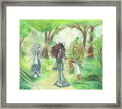 Framed Print featuring the painting The Fae - Sylvan Creatures Of The Forest by Shawn Dall