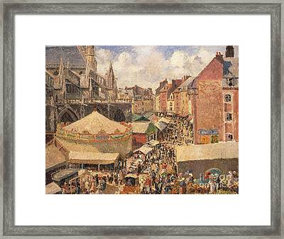 The Fair In Dieppe Framed Print by Camille Pissarro