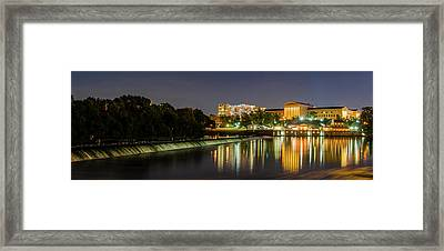 Framed Print featuring the photograph The Fairmount Dam And Art Museum At Night Panorama by Bill Cannon
