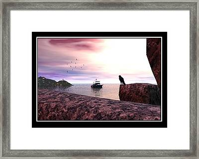 The Falcon At The Beach Framed Print by William  Ballester
