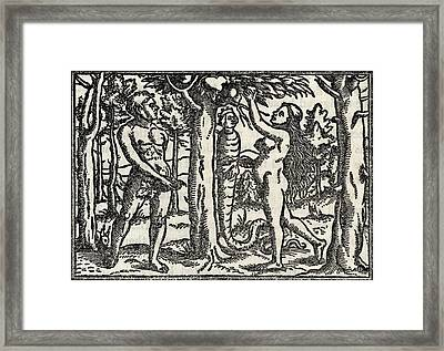 The Fall Of Adam And Eve After Hans Framed Print by Vintage Design Pics