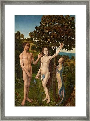 The Fall Of Man And The Lamentation Framed Print by Hugo van der Goes
