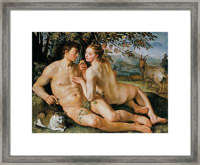 The Fall Of Man Framed Print by Hendrik Goldzius