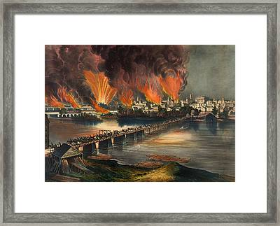 The Fall Of Richmond On The Night Of April 2nd 1865 Framed Print by Mountain Dreams