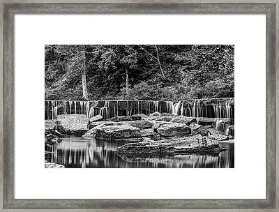 The Falls At Pillsbury Crossing In Black And White  Framed Print