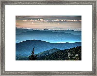 The Far Blue Smoky Mtns. Framed Print