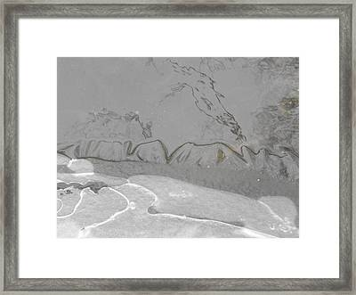 The Far Mountains The Mist  Spring Calligraphy Framed Print by john Kuti