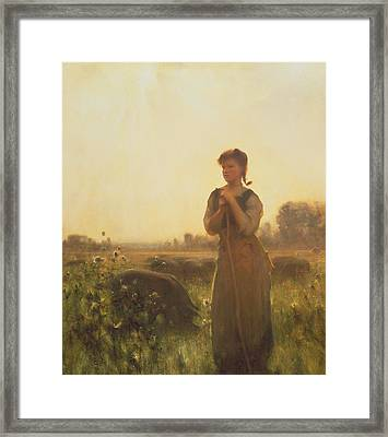 The Farm Girl Framed Print by Arthur Hacker