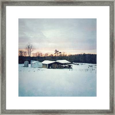 The Farm In Snow At Sunset Framed Print