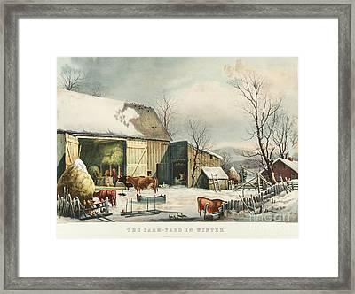 The Farm Yard In Winter Framed Print