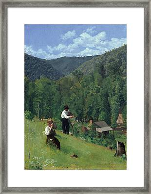 The Farmer And His Son At Harvesting Framed Print by Thomas Pollock Anschutz