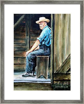 Framed Print featuring the painting The Farmer by Patricia L Davidson